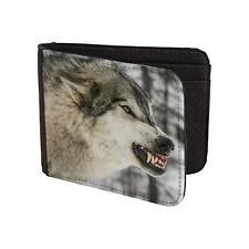 Printed Mens Wallet & Card Holder Wolf Face Mens Travel Wallets