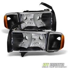 Black 1999 2000 2001 Dodge Ram 1500 Sport Model Headlights Headlamps w/ Corner