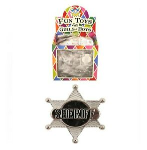 Silver 6 Point Sheriff Badge Shield - Childrens Plastic Badge with Safety Catch