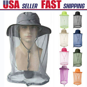 Mosquito Bug Fly Bee Insect Net Hat Camping Hidden Mesh Cap Head Face Protector