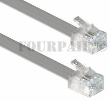 2 Pack Lot - 14ft Telephone Line Cord Cable 6P6C RJ12 RJ11 DSL Fax Phone Silver