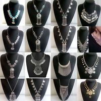 Retro Gypsy Ethnic Tribal Turkish Boho Coins Chain Tassel Bib Necklace