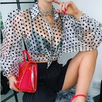 Women's Fashion Lantern Polka Dot Print Top Shirt Casual Outdoor Long Sleeve