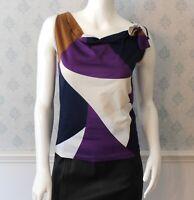Women's Luxury Designer Piazza Sempione Multi Color Block Sleeveless Jersey Top