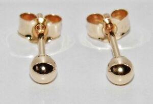 9ct Gold 3mm Plain Ball Stud Earrings - (1) Pair - Men's or Ladies ~ .375
