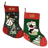 Vintage Handmade Christmas Stockings Mom & Dad Embroidered Quilted Country Gift