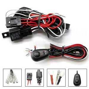 Relay Harness Wire + ON/OFF Switch For LED Fog Lights HID Worklamps Universal