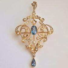 Antico Vittoriano Art Nouveau 15ct ORO ACQUAMARINA & Perla Ciondolo Spilla c1895