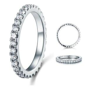Micro Set Eternity Created Diamond Solid Sterling 925 Silver Wedding Band Ring