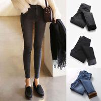 Winter Women High Waist Fleece Trousers Plus Velvet Stretchy Pencil Pants Warm