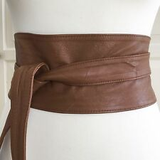 ASOS Soft Tan Brown 100% Leather Obi Waist Belt size 8 10 12 XS S M