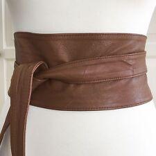 Asos Doux Marron Clair 100% cuir Obi Ceinture Taille 8 10 12 XS S M