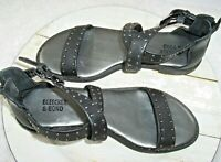 Bleecker & Bond Black Sandals Women's Size 7M Studded Straps Back Zipper Detail