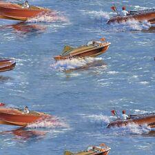 Elizabeth Studios Classic Boats on Blue Quilt, Sew, Fabric - 1 yd - Bty