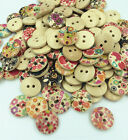 New 100pcs 15mm Mixed Round Pattern 2 Holes Wood Buttons Sewing Scrapbooking