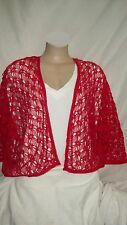 Autograph RED gypsy boho SUMMER COTTON macrame cardi cardigan Bolero XL 24 26