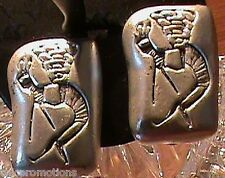 Clip on Earrings Silver Plate Faux Antique Ancient Fossil Rock Stone Petroglyph