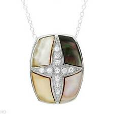 Cross Necklace W/Mother of pearl & CZ  Made in 925 Sterling silver