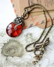 Womans Necklace Red Crystal Angle Tear Pendant Long Chain