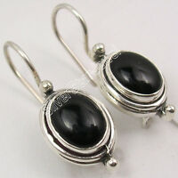 925 Sterling Silver Original OVAL BLACK ONYX CABOCHON DELICATE Earrings 1""