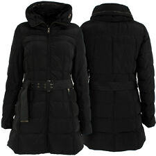 LADIES WOMEN QUILTED PADDED LONG PARKA WARM JACKET HOODED BLACK WINTER COAT