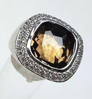 Mondäner 925 Silber Ring VIVENTY mit Rauchquarz mass. gearb. RG 60/19,1mm A 603