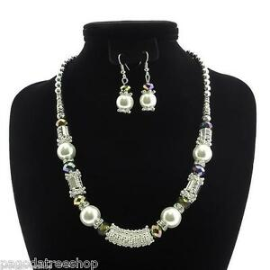New Faux Pearl & Crystal Necklace & Earrings - Clear or Black or Purple or Multi