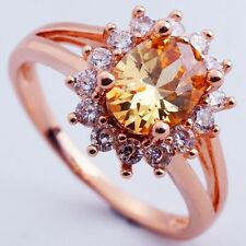 Size 9 CHAMPAGNE C.Z FLOWER ABALZE DESIGN ROSE GOLD PLATED RING+GIFT POUCH(8379