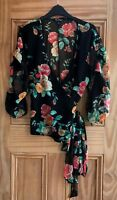 Miss Selfridge Brand New Black Red Floral Rose Print Chiffon Wrap Top Size 6-12
