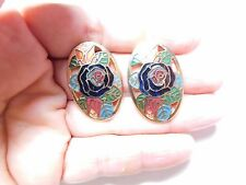 Vintage Gold Tone Metal Blue Burgundy Green Cloisonne Enamel Clip On Earrings