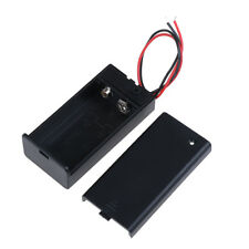 9V Volt PP3 battery holder box dc case w/ wire lead on/off switch cover In AL