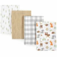 Hudson Baby Flannel Burp Cloth 4-Pack, Woodland