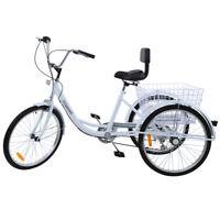 "White 24"" Adult Tricycle 3-Wheel 7 Speed Bicycle Trike Cruiser w/Backrest Basket"
