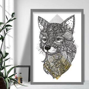 Geometric FOX Head Art Print Yellow Grey Gallery Wall Poster Aztec Decor