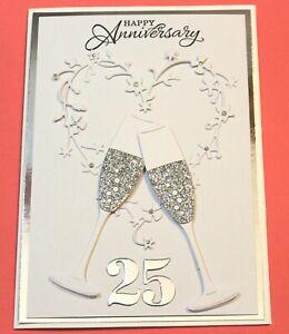 "5"" x 7"" White 25th Wedding Anniversary Handmade Card DIY Card Making Kit Glasses"