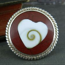 Signed FD (?) Thailand Sterling Silver Round Inlaid Swirl Heart Ring