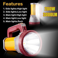 3000LM USB Super Bright LED Light Spotlight Waterproof Searchlight Torch  */!