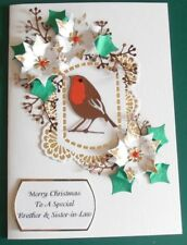 Personalised Handmade Christmas Card White Poinsettia and Red Robin