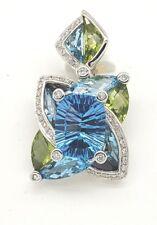 Bellari Blue topaz Peridot Diamond .17tcw 18k white gold enhancer pendant NWOT