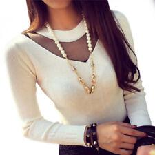 Women Fashion Sexy Long Sleeve Slim Mesh Sheer Splicing Knitwear Shirts Top Hot`