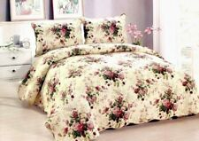 King Quilt Bedspread Floral Rose Design Red & Off Cotton Set Only One This Price