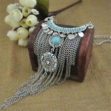 Retro Bohemian Gypsy Style Turquoise Tassel  Chain Choker Pendant Necklace JR
