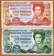 SET Falkland Islands, 5;10 pounds, 2005-2011 P-17-18, QEII, UNC