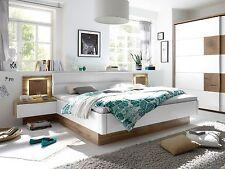 Bettanlage Bett Doppelbett 180x200 Eiche weiß Dekor CAMERON inkl. Nachtkommoden
