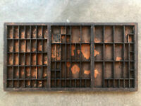 Antique Letterpress Printers TYPE TRAY w/ crystal handle pull