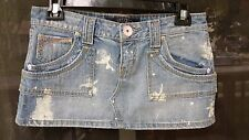 Hint sz 9 Juniors Womens COTTON Jeans Denim Mini Skirt