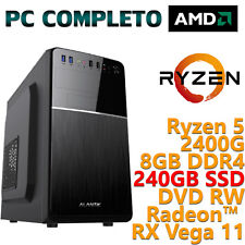 Pc Computer Desktop Windows 10 assemblato AMD Quad Core Ryzen 5 8gb SSD 240gb