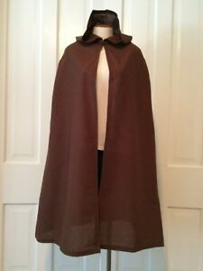 Halloween Costume Hooded Cape Brown Adult Medieval Renaissance Cloak One Size