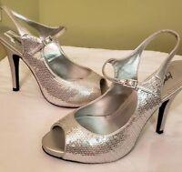 Jacqueline Ferrar's Open Toe Silver Sequins Heels-NEW