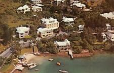 """BUENA VISTA"" Paget, Bermuda Aerial View Caribbean Islands ca 1950s Postcard"